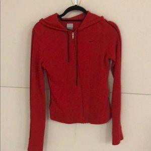 Red cashmere zippered long sleeve sweater